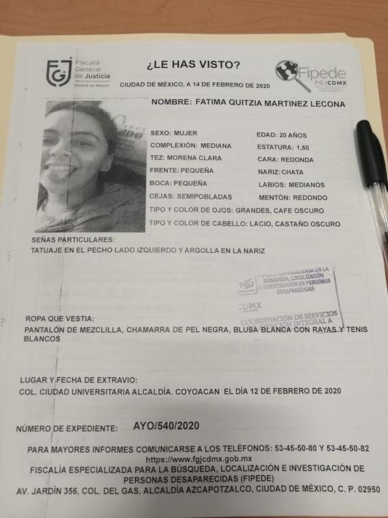 fatima martinez lecona estudiante unam desaparecida 1