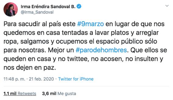 la secretaria de la funcion publica irma sandoval considera que las mujeres que se queden en casa el 9m estaran tentadas a lavar los platos y  1