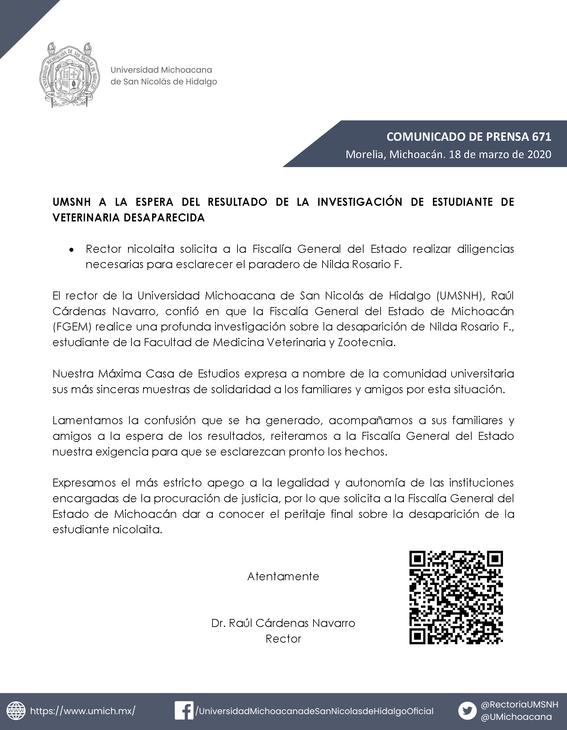 feminicidio desaparicion de nilda rosario umsnh 2