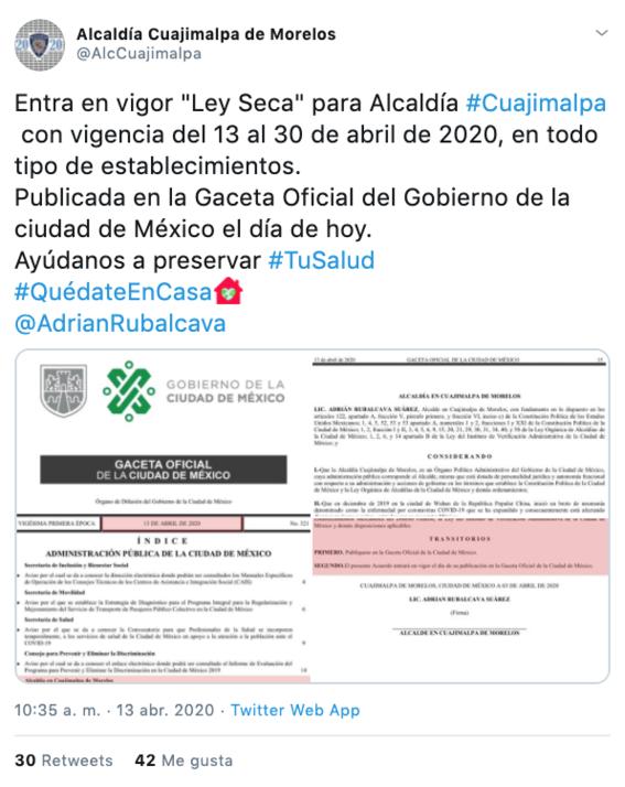 anuncian ley seca en cuajimalpa hasta el 30 de abril por coronavirus 1