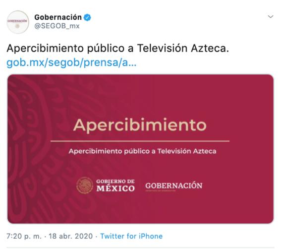 ¿que es el apercibimiento publico que gobierno aplico a tv azteca 1