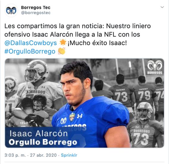 ¿quien es isaac alarcon mexicano que jugara para vaqueros de dallas 2