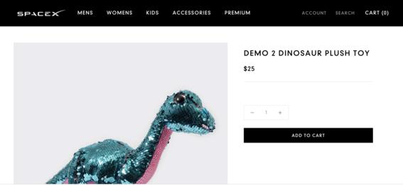 peluche dinosaurio spacex crew dragon 1