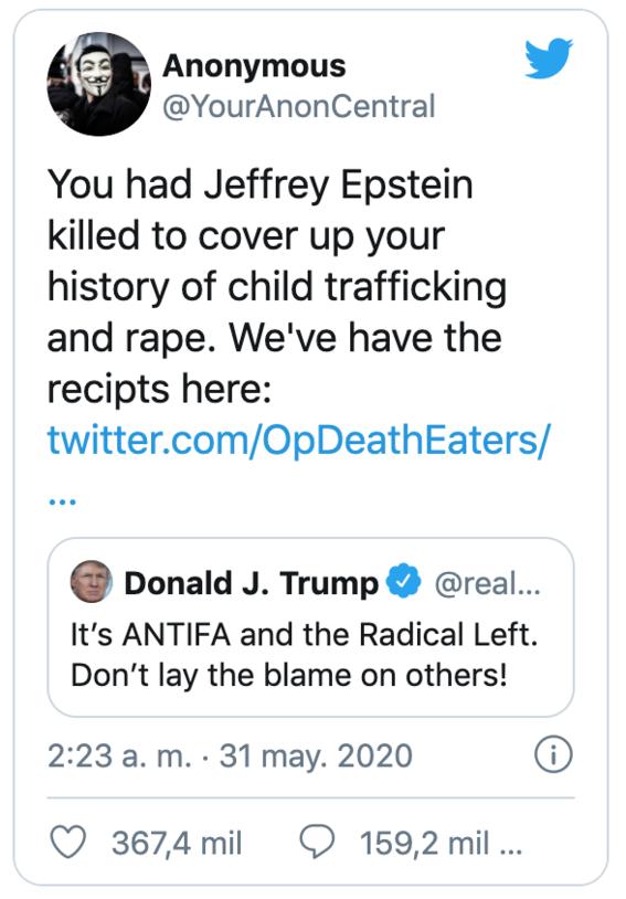 anonymous revela que donald trump mando matar a jeffrey epstein 2
