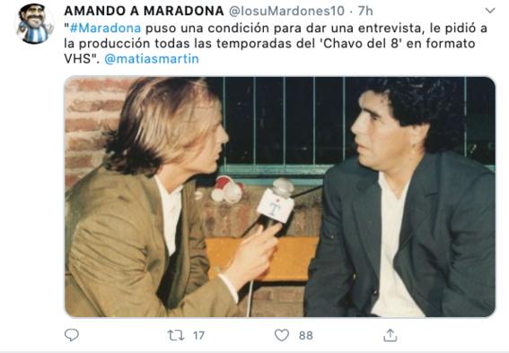 maradona pide el chavo del 8 en vhs para dar una entrevista 1