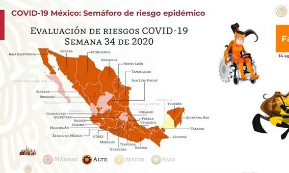 coronavirus en mexico casos muertos mapa por estado 14 de agosto 1