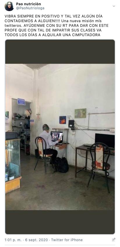 profesor da clases en linea desde un cafe internet 1