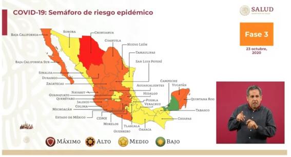 mapa covid por estados octubre 2020 1
