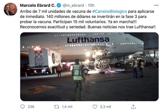 arriban a mexico 7 mil unidades de vacuna china de cansinobio contra el covid19 2
