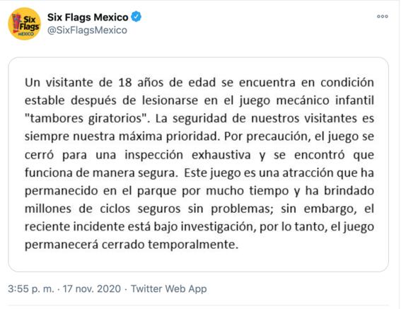 six flags mexico reporta a un joven encuentra estable tras accidente en juego mecanico 1