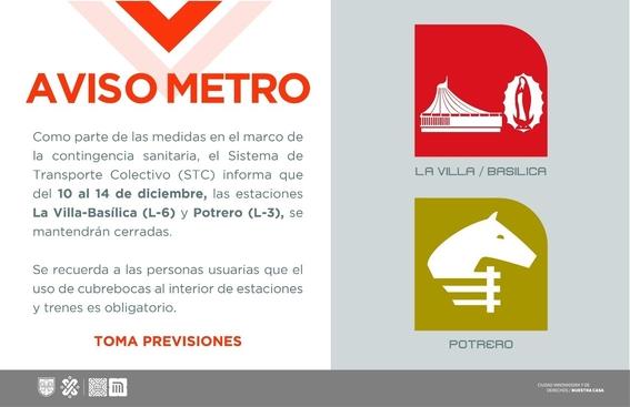 estaciones del metro cerradas virgen de guadalupe pandemia covid 1
