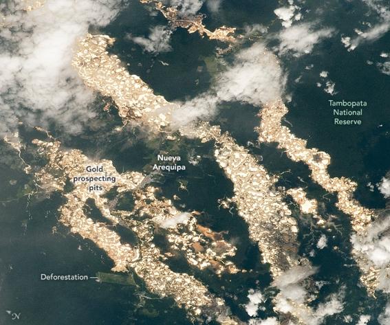 nasa capta imagen de rios de oro en peru 1