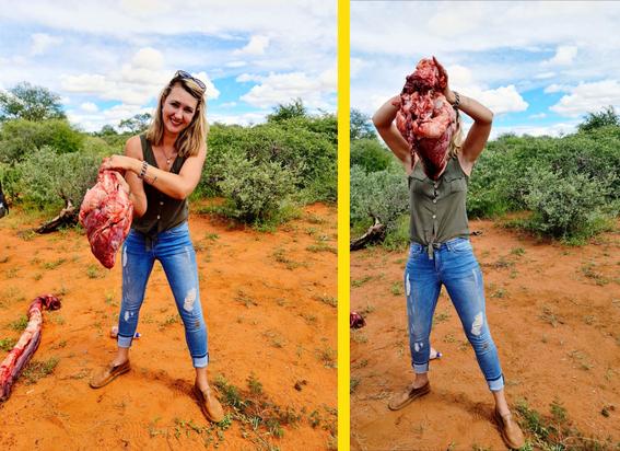 mujer posa con corazon de jirafa; su esposo le regalo un dia de caceria por el 14 de febrero 2