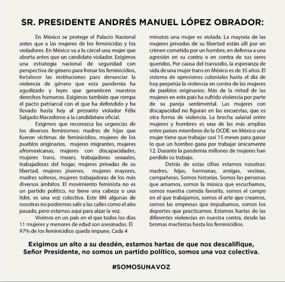miles de mexicanas envian carta de reclamo a lopez obrador por el 8m 1