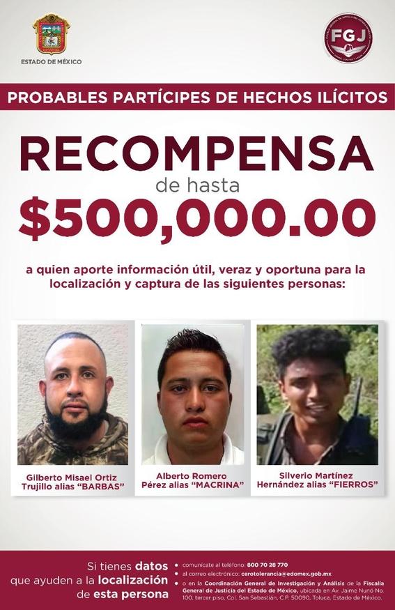 fiscalia ofrece 500 mil pesos implicados asesinato policias edomex 1