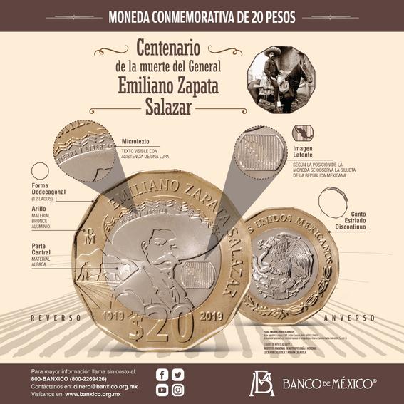 ¿como es la nueva moneda de 20 pesos en honor a emiliano zapata 1