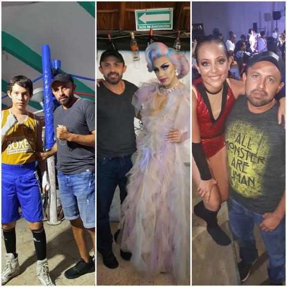 foto papa viral por apoyar a hijos boxeador drag y bailarina 1