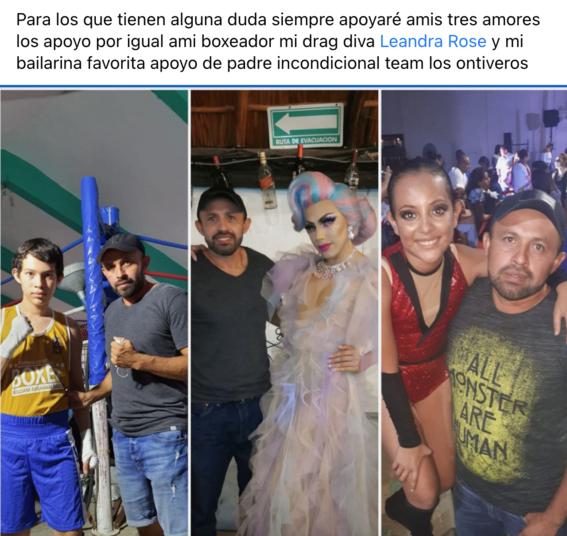 foto papa viral por apoyar a hijos boxeador drag y bailarina 2