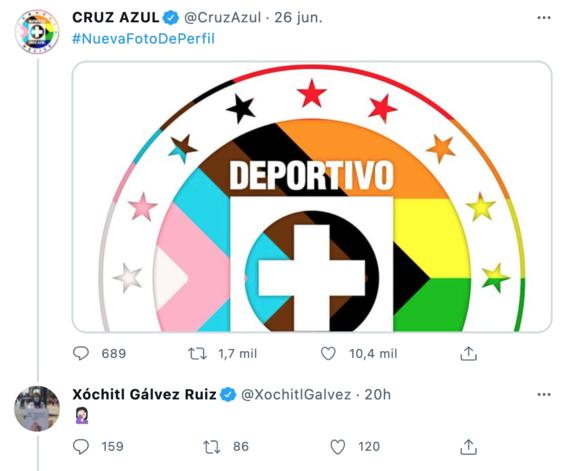 xochitl galvez senalada homofobica twitter reaccion logo cruz azul 1