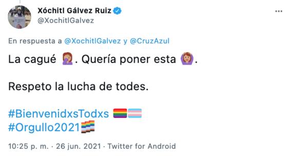 xochitl galvez senalada homofobica twitter reaccion logo cruz azul 2