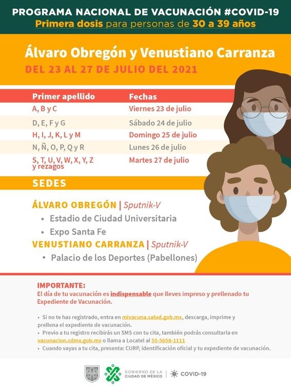 fechas y sedes de vacunacion 30 a 39 alcaldias cdmx 2
