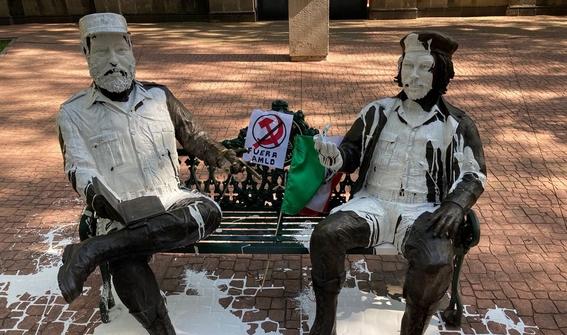 detienen a dos hombres por vandalizar estatuas de fidel castro y del che 2