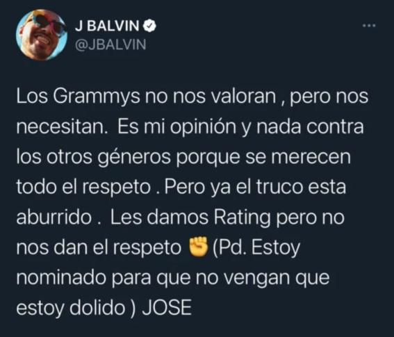 residente responde a j balvin por boicot a los grammy latino 1