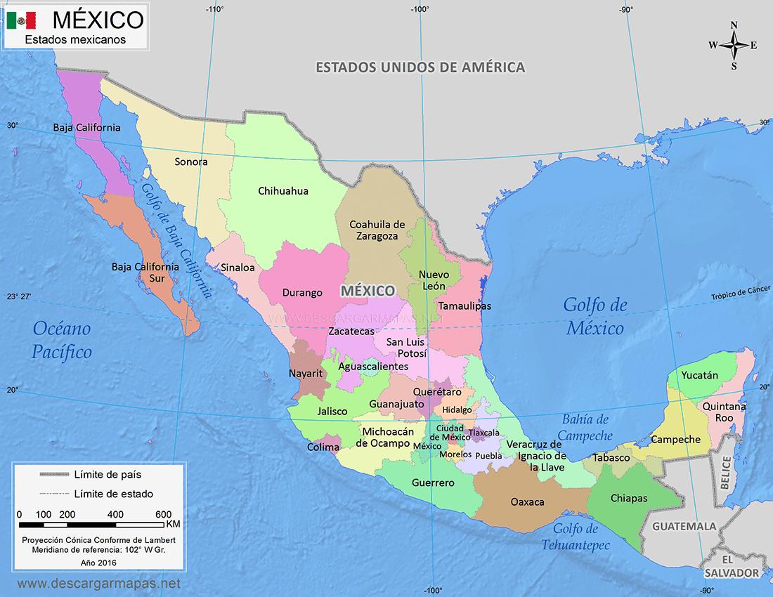Mapa Politico De Eeuu Con Sus Estados Y Ciudades.Mapa De Mexico Division Politica Estados Y Capitales Del