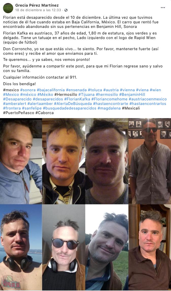 Reportan desaparición en Sonora de Florian Kafka, turista austríaco; solo  encontraron su automóvil - mexico