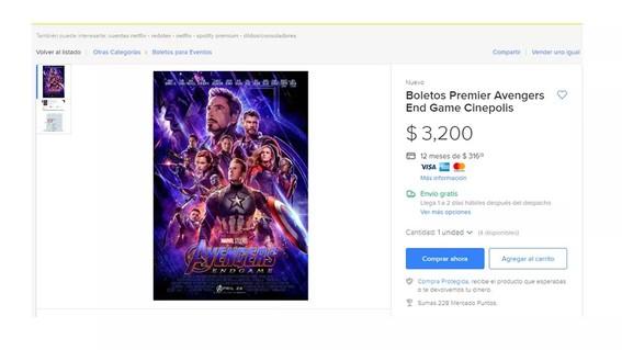 reventa de boletos para avengers endgame en mexico