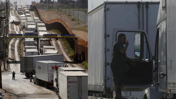 camiones de transporte parados en la frontera norte