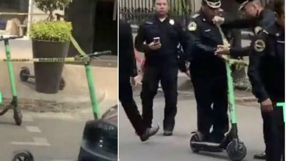 policias acordonaron escena del crimen con scooters