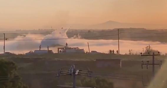 la fuga de gas en un ducto de pemex fue reportada por las autoridades del municipio de nextlalpan localizado en el estado de mexico