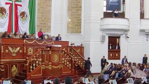 la jefa de gobierno de la ciudad de mexico claudia sheinbaum se encuentra en el pleno del congreso local para rendir su primer informe