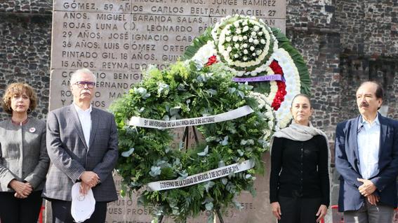 en el 51 aniversario de la masacre de tlatelolco claudia sheinbaum afirmo que seguira luchando con responsabilidad por la democracia libertad y