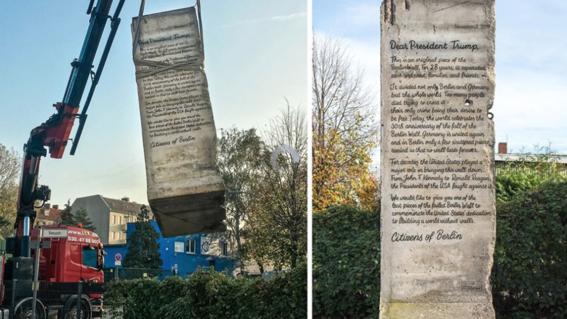 donald trump recibira el fragmento original del muro de berlin en el aniversario 30 de su caida para recordarle la lucha mundial por una sociedad