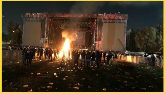 """el festival de metal knotfest termino de manera abrupta luego de que la seguridad fuera superada por un grupo de personas que instaron dar """"porta"""