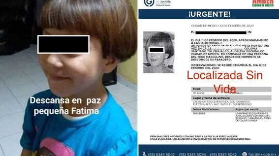 las autoridades confirmaron el hallazgo del cuerpo de una menor llamada fatima de 7 anos en calles de la alcaldia tlahuac