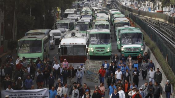 la megamarcha de transportistas de la fuerza amplia de transportistas prevista para que el miercoles saliera de distintos puntos de la cdmx fue c
