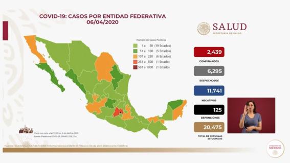 casos confirmados y muertos por coronavirus 6 de abril 2020