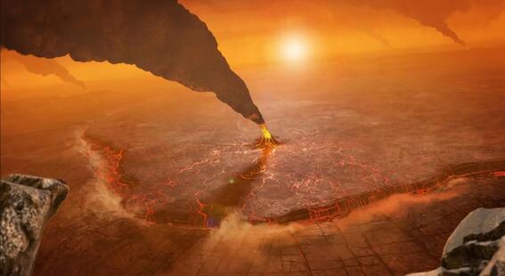 ¿como se veria una erupcion volcanica en venus
