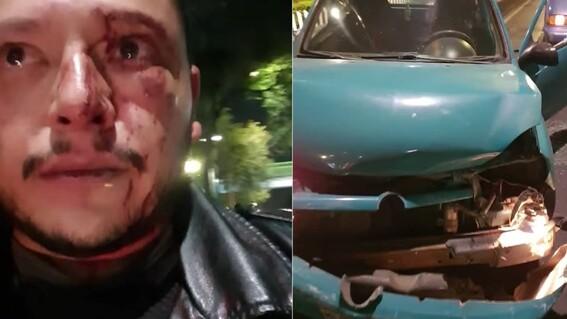 sujetos golpean con piedras a joven y destruyen su auto en cdmx victima de 'montachoques'