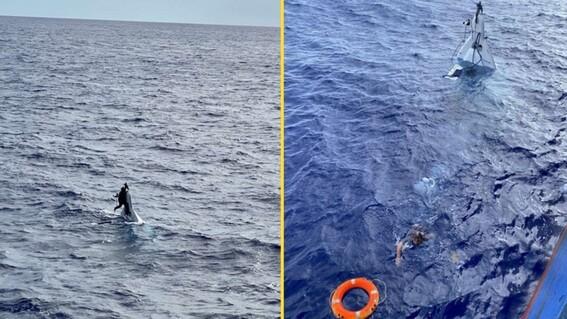 rescatan a hombre que desaparecio 2 dias en altamar; lo encontraron aferrado a su bote