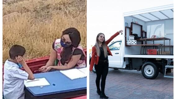 regalan camioneta maestra salon de clases