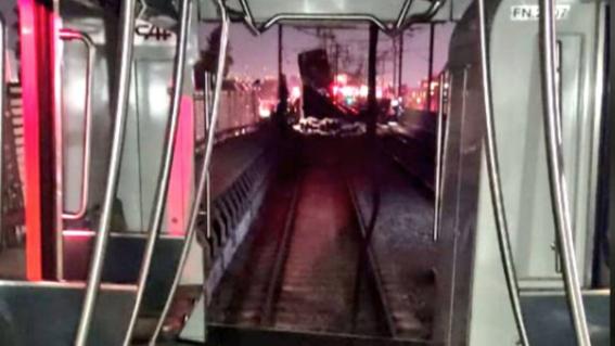 metro desplome videos dentro linea 12