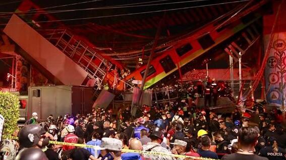 fotos de los momentos del desplome del metro olivos en la cdmx