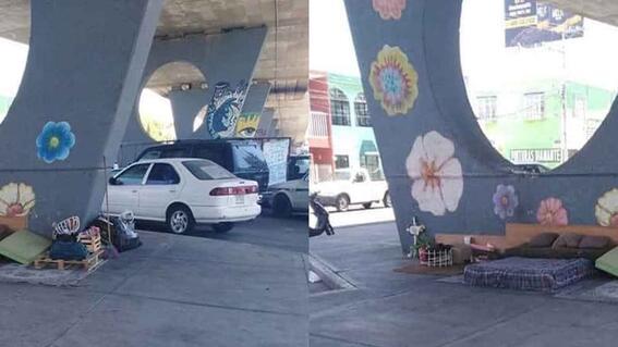 viral recamara ordenada y limpia de indigente que vive abajo de un puente