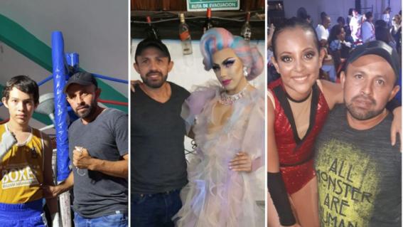 foto papa viral por apoyar a hijos boxeador drag y bailarina