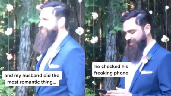 novio revisando celular dia boda