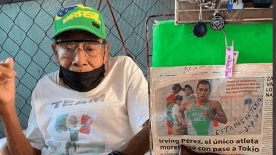 olimpicostokio2020 abuelo de irving perez decora su puesto